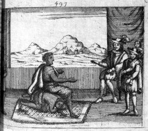 Nzinga sentou-se sobre sua acompanhante colocando-se em posição de igualdade com o governador português. Manuscrito de Cavazzi, missionário capuchinho, 1687